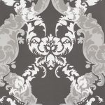 Adorn Floral Scroll Black White 48663 Wallpaper