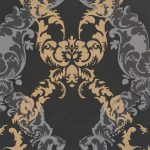 Adorn Floral Scroll Black Brown 48665 Wallpaper