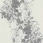 Ornated Floral Scroll White Grey 5794-10 Wallpaper