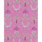 Ornamental Charms Swags Green Pink 7304-17 Wallpaper