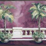 Brown Background Palm Tree on Balcony BB75967 Wallpaper Border