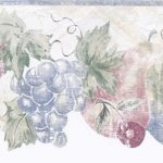 Blue Cream Stenciled Fruits CL72764 Wallpaper Border