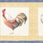 Blue Yellow Cream Roosters CP33209 Wallpaper Border