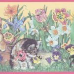 Pink Yellow Floral Kittens CT102261 Wallpaper Border