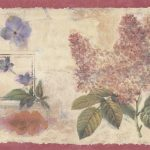 Red Cream Floral Stamps DW30173 Wallpaper Border