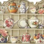 White Cups and Saucer Cupboard HH90221 Wallpaper Border
