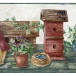 Maroon Wooden Bird Houses HRB4104 Wallpaper Border