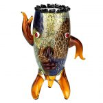 Murano Style Art Glass Vase with a Face