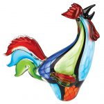 Murano Style Art Glass Super Rooster h16 inches