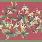 Green Red Painted Floral JT7486 Wallpaper Border
