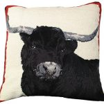 Black Steer 20×20 Needlepoint Pillow