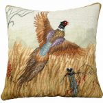 Pheasant in Flight 18×18 Needlepoint Pillow