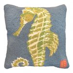 Green Seahorse 18×18 Hooked Pillow