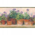 Green and Lilac Floral Flowers PC95082 Wallpaper Border