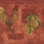 Yellow Rooster & Fruits Vintage TK78255 Wallpaper Border