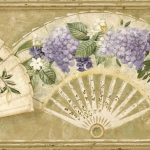 Tan Fans and Flowers VC52203B Wallpaper Border