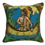 Indian in Canoe 20×20 Needlepoint Pillow