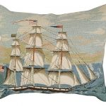Ship at Full Mast 16×20 Needlepoint Pillow