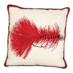 Red Wooly Bugger Decorative Pillow