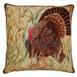 Turkey in Field 18×18 Needlepoint Pillow
