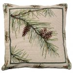 Pine Bough Needlepoint Decorative Pillow