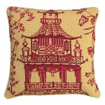 Red Pagoda 18×18 Needlepoint Pillow