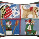 Puppy Stockings 16 X 20 Hooked Pillow