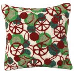 Peppermint Disco 18 X 18 Hooked Pillow