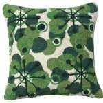 Retro Green 18 x 18 Hooked Pillow