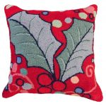 Holly with Red Field Decorative Pillow
