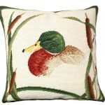Mallard with Cattails Decorative Pillow