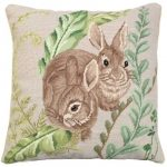 Rabbits with Fern Decorative Pillow