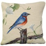 Blue Bird on a Fence Decorative Pillow