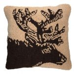 Woodcut Elk 18×18 Hooked Decorative Pillow