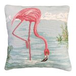 Flamingo in Water Decorative Pillow