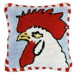 Chicken 18X18 Hooked Decorative Pillow